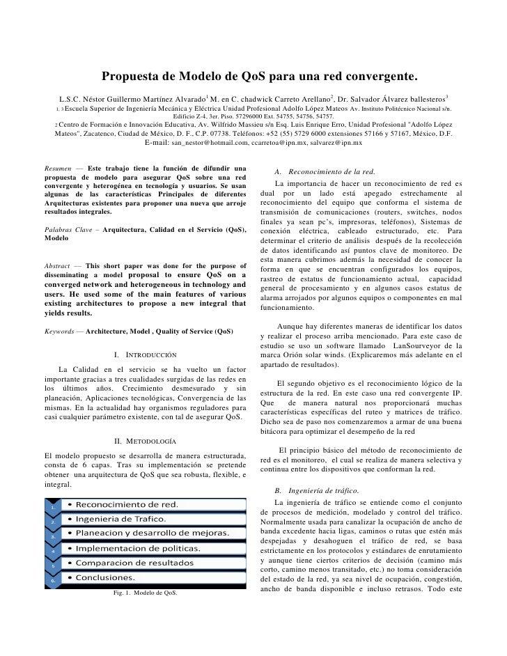 Propuesta de Modelo de QoS para una red convergente.    L.S.C. Néstor Guillermo Martínez Alvarado1 M. en C. chadwick Carre...