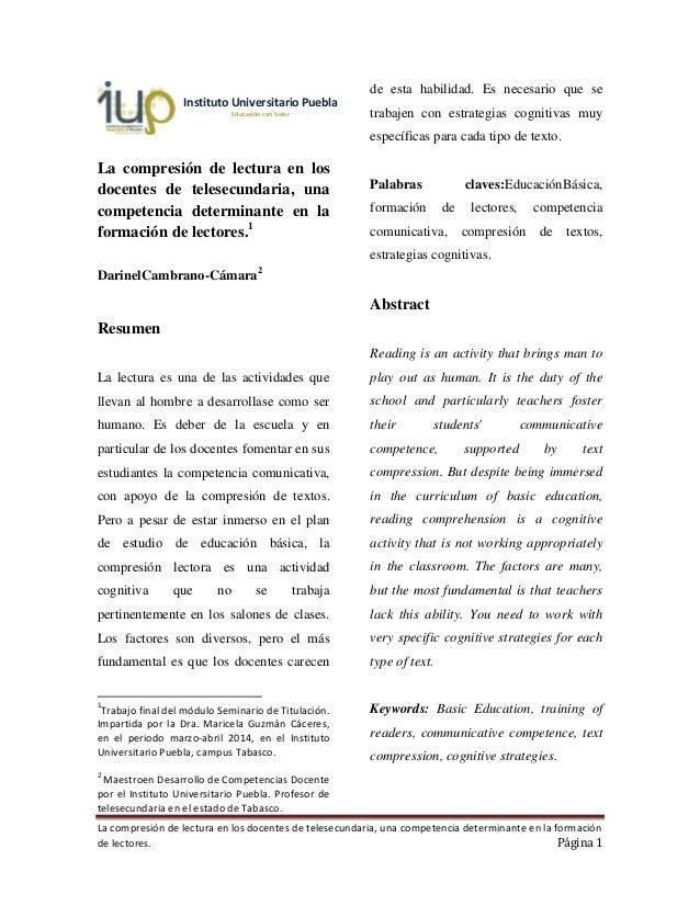 La compresión de lectura en los docentes de telesecundaria, una competencia determinante en la formación de lectores. Pági...