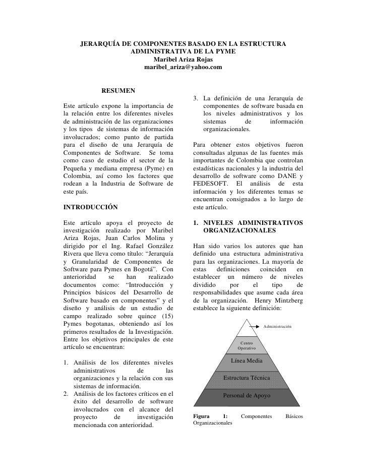 JERARQUÍA DE COMPONENTES BASADO EN LA ESTRUCTURA                  ADMINISTRATIVA DE LA PYME                       Maribel ...