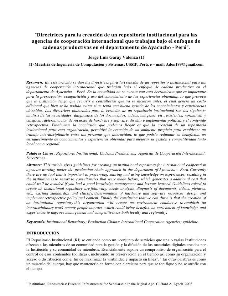 """""""Directrices para la creación de un repositorio institucional para las       agencias de cooperación internacional que tra..."""