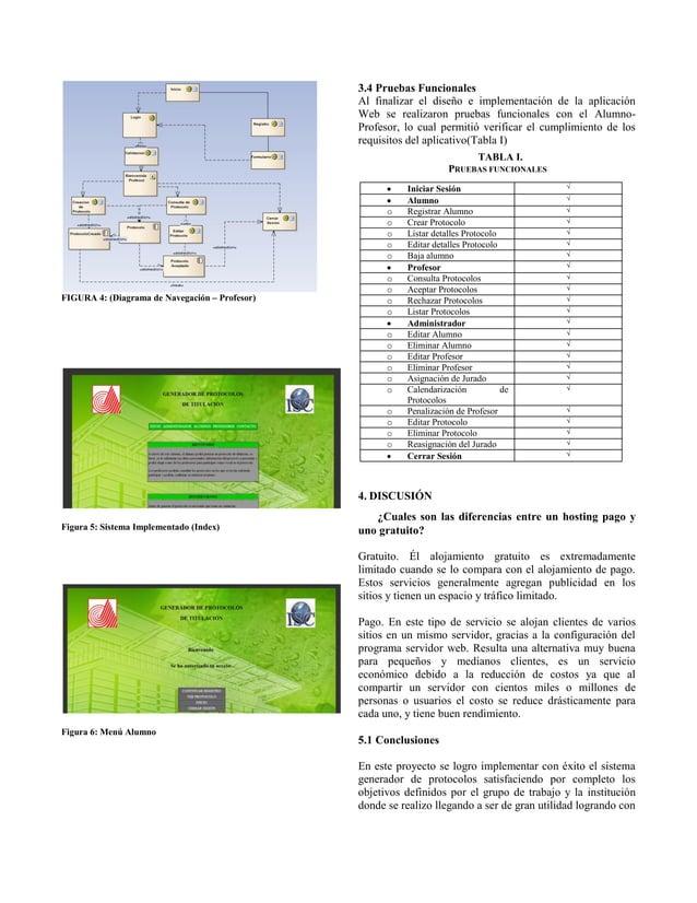 FIGURA 4: (Diagrama de Navegación – Profesor) Figura 5: Sistema Implementado (Index) Figura 6: Menú Alumno 3.4 Pruebas Fun...