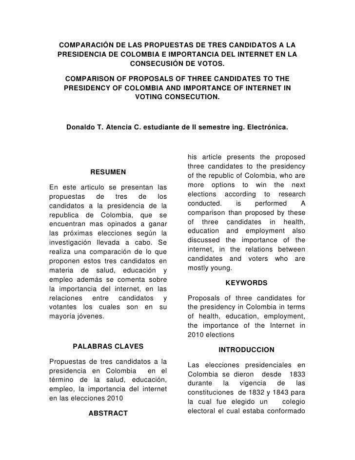 COMPARACIÓN DE LAS PROPUESTAS DE TRES CANDIDATOS A LA PRESIDENCIA DE COLOMBIA E IMPORTANCIA DEL INTERNET EN LA CONSECUSIÓN...