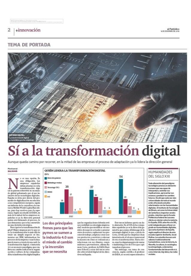 Artículo - El Periódico - Sí a la transformación digital (20181218)