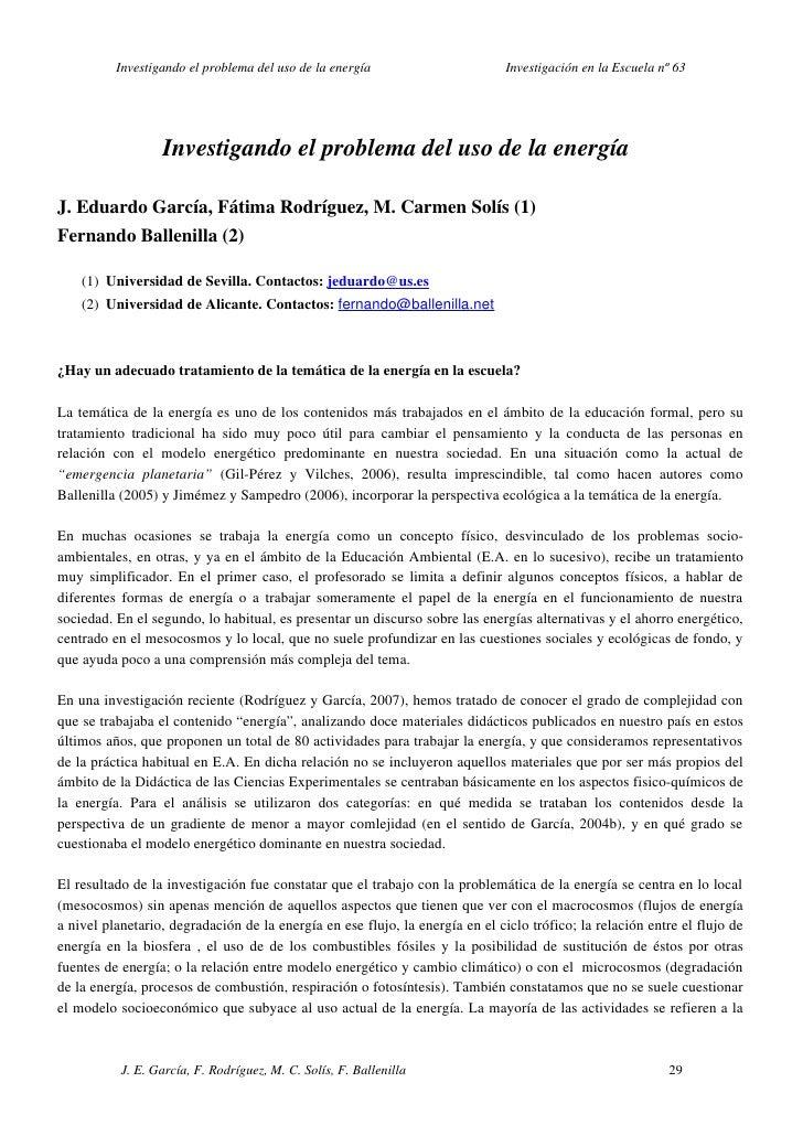 InvestigandoelproblemadelusodelaenergíaInvestigaciónenlaEscuelanº63   ...