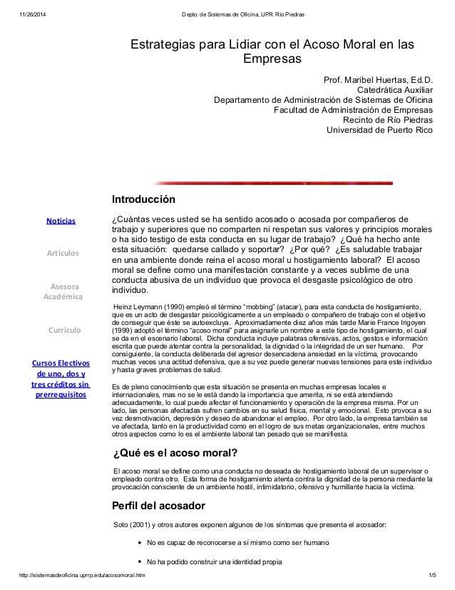 11/26/2014 Depto. de Sistemas de Oficina, UPR Río Piedras  Estrategias para Lidiar con el Acoso Moral en las  Empresas  Pr...