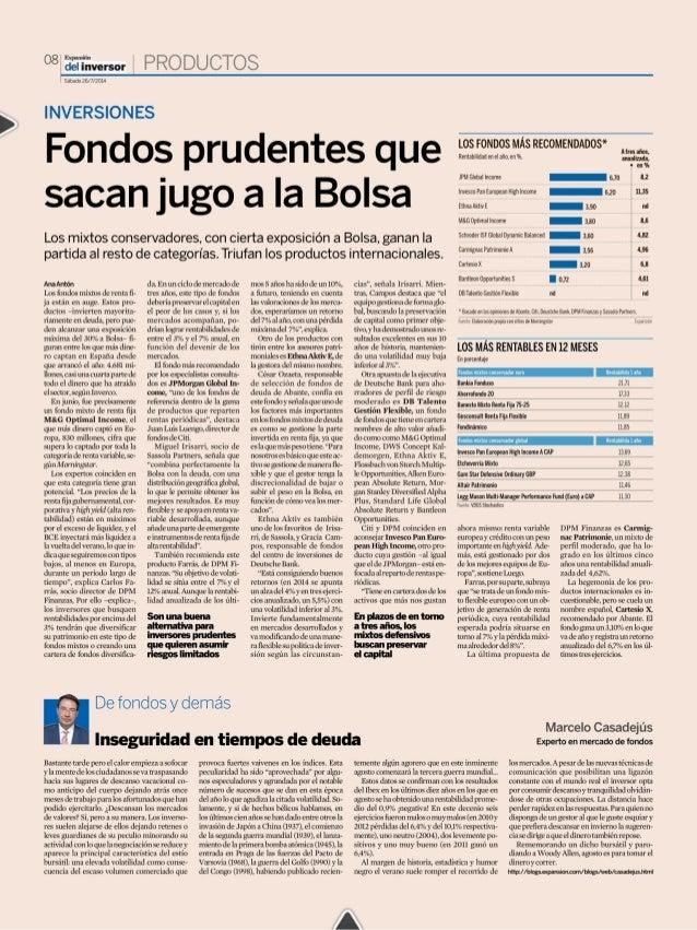 Expansión  del Freno aro-sm? » r  Fecha:   26/07/2014  Sección:  INVERSION  Páginas:  8  INVERSIONES  Fondos prudentes que...