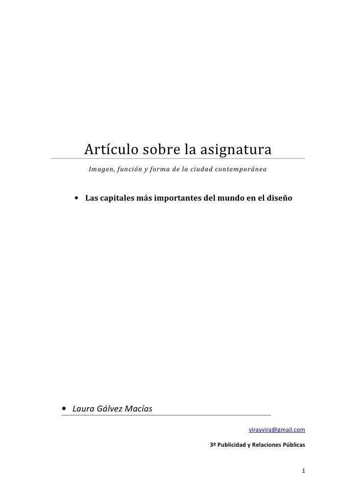 Artículo sobre la asignatura      Imagen, función y forma de la ciudad contemporánea  • Las capitales más importantes del ...