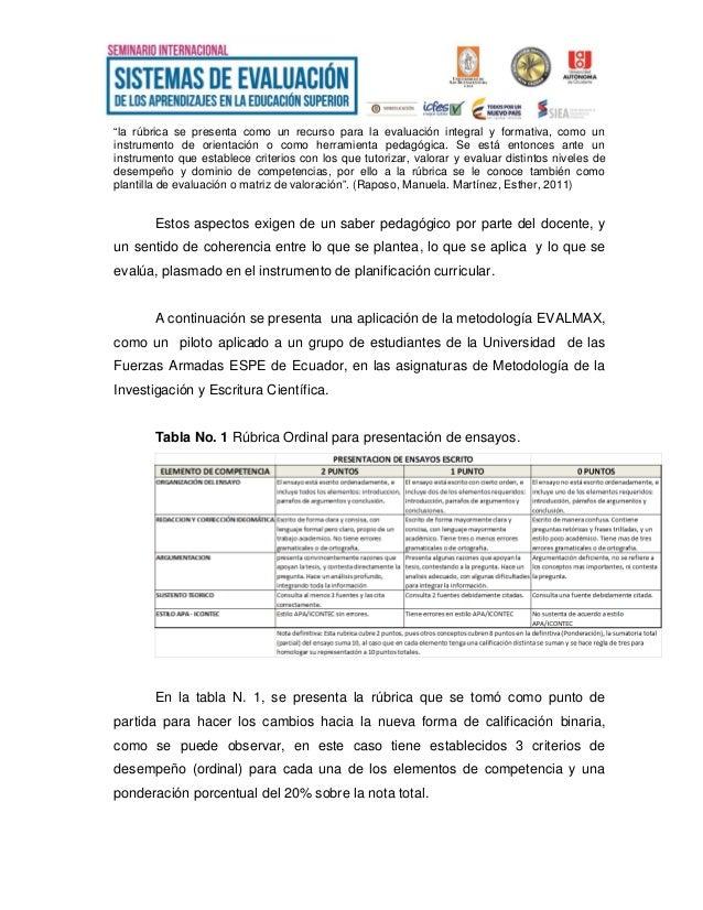 Propuesta de un Sistema Métrico de Evaluación para la Educación en Co…
