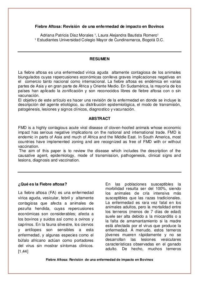 Fiebre Aftosa: Revisión de una enfermedad de impacto en BovinosFiebre Aftosa: Revisión de una enfermedad de impacto en Bov...