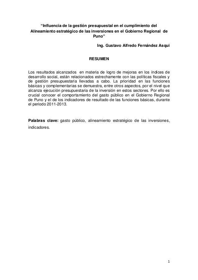 """""""Influencia de la gestión presupuestal en el cumplimiento del Alineamiento estratégico de las inversiones en el Gobierno R..."""