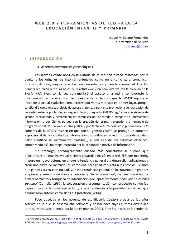 WEB 2.0 Y HERRAMIENTAS DE RED PARA LA              EDUCACIÓN INFANTIL Y PRIMARIA                                          ...