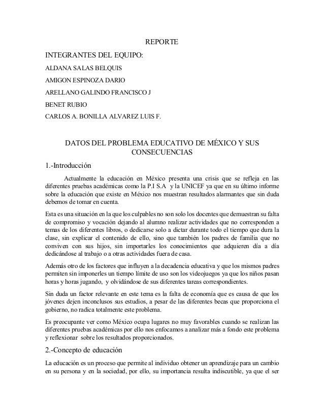 REPORTE INTEGRANTES DEL EQUIPO: ALDANA SALAS BELQUIS AMIGON ESPINOZA DARIO ARELLANO GALINDO FRANCISCO J BENET RUBIO CARLOS...