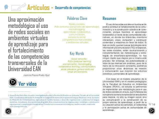 Desarrollo de competenciasArtículos - 161/ Una aproximación metodológica al uso de redes sociales en ambientes virtuales d...