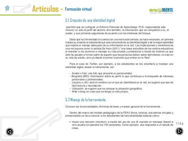 Artículos - 1611/ Formación virtual 5.1 Creación de una identidad digital (permite que se configure un Entorno Personal de...