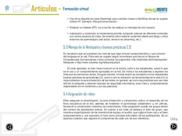Artículos - 1612/ Formación virtual • Uso de la etiqueta de clase (Hashtag): para nombrar clases o identificar temas se s...