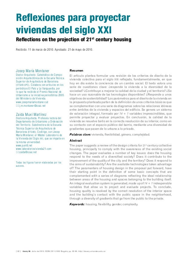 [ 82 ]  dearq 06. Julio de 2010. ISSN 2011-3188. Bogotá, pp. 82-99. http://dearq.uniandes.edu.co Reflections on the projec...