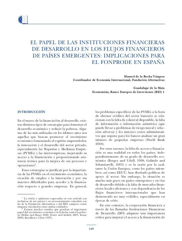 EL PAPEL DE LAS INSTITUCIONES FINANCIERAS           DE DESARROLLO EN LOS FLUJOS FINANCIEROS            DE PAÍSES EMERGENTE...