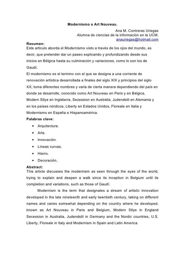 Modernismo o Art Nouveau.                                                      Ana M. Contreras Uriegas                   ...