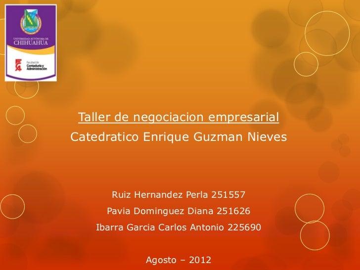 Taller de negociacion empresarialCatedratico Enrique Guzman Nieves      Ruiz Hernandez Perla 251557     Pavia Dominguez Di...