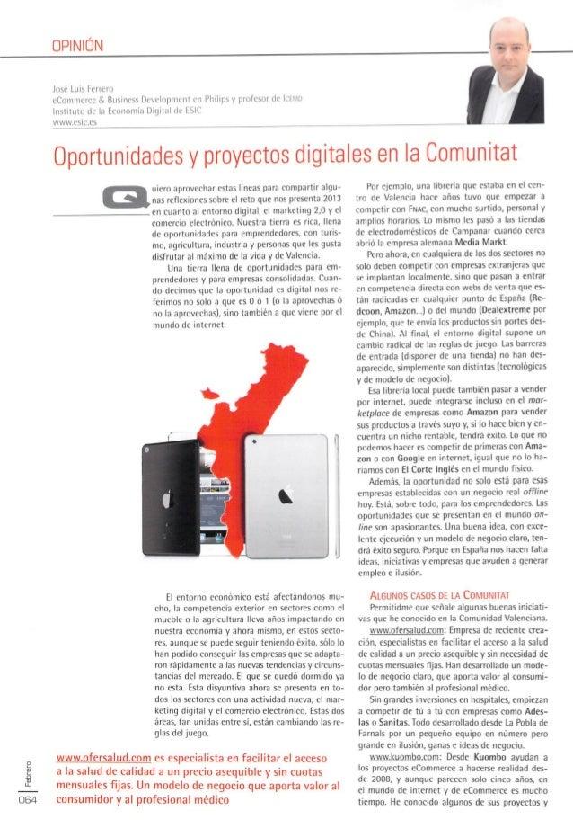 Articulo Proyectos digitales en la Comunidad Valenciana