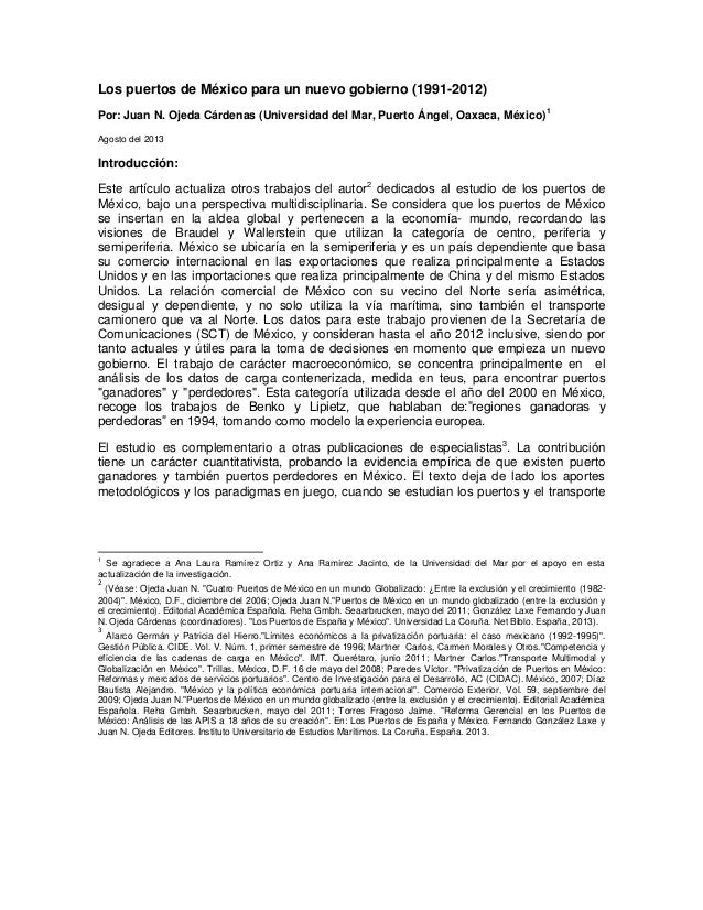 Los puertos de México para un nuevo gobierno (1991-2012) Por: Juan N. Ojeda Cárdenas (Universidad del Mar, Puerto Ángel, O...