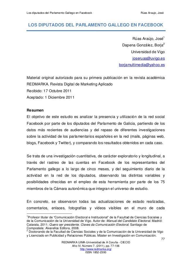 Los diputados del Parlamento Gallego en Facebook                                   Rúas Araujo, José    LOS DIPUTADOS DEL ...