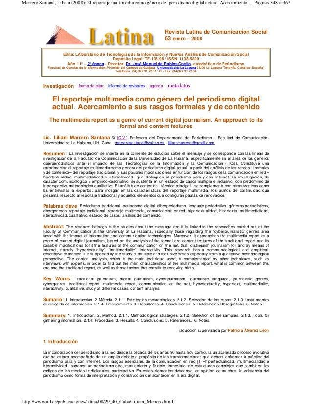 Marrero Santana, Liliam (2008): El reportaje multimedia como género del periodismo digital actual. Acercamiento... Páginas...