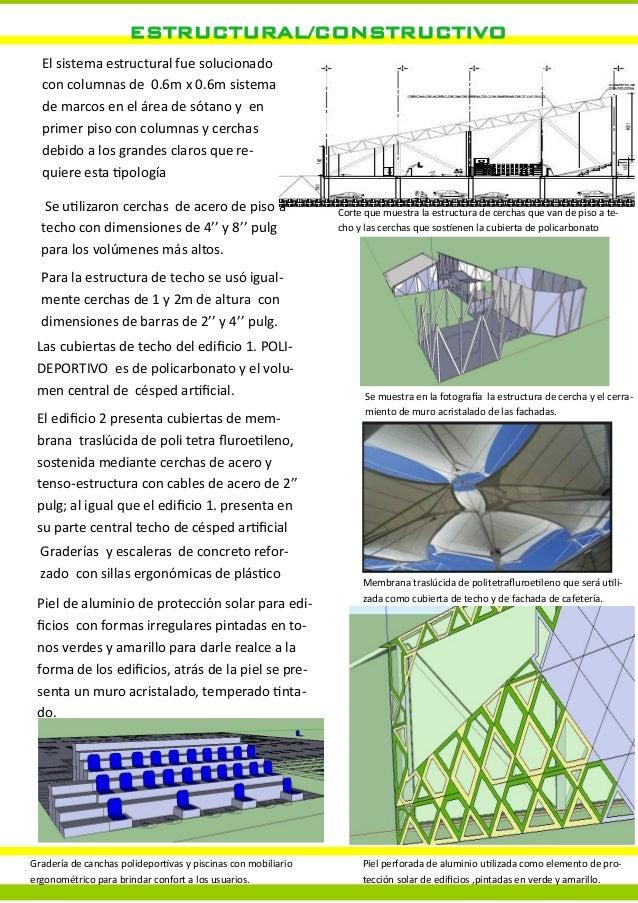 ESTRUCTURAL/CONSTRUCTIVOEl sistema estructural fue solucionadocon columnas de 0.6m x 0.6m sistemade marcos en el área de s...