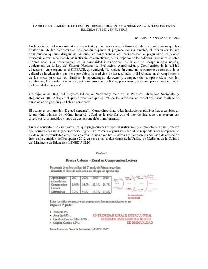 CAMBIOS EN EL MODELO DE GESTION – RESULTADOS EN LOS APRENDIZAJES -NECESIDAD EN LA                              ESCUELA PUB...