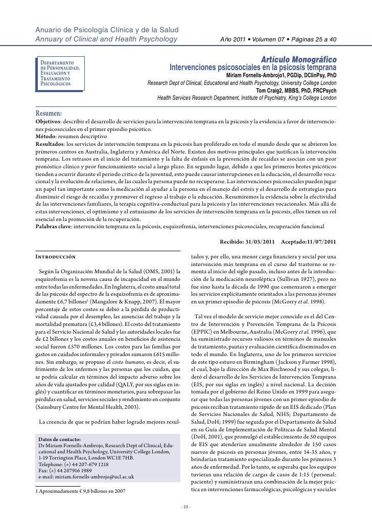 Anuario de Psicología Clínica y de la SaludAnnuary of Clinical and Health Psychology                                     ...