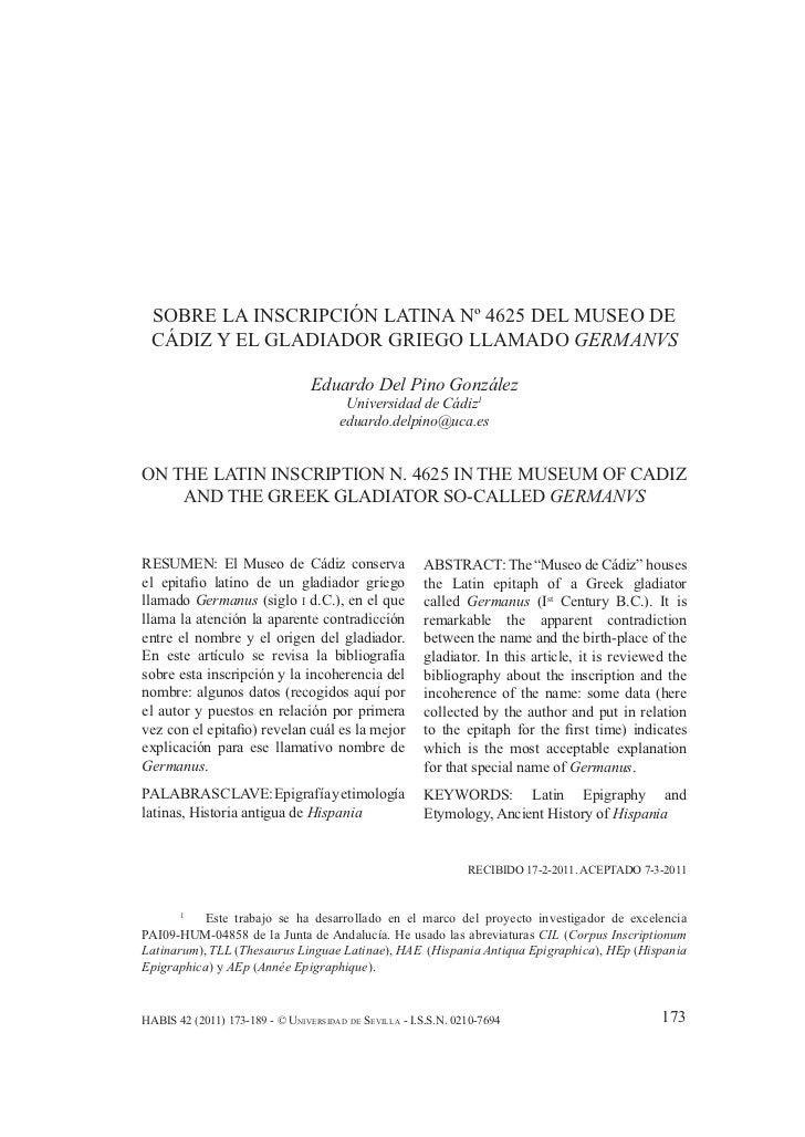 SOBRE LA INSCRIPCIÓN LATINA Nº 4625 DEL MUSEO DE CÁDIZ… SOBRE LA INSCRIPCIÓN LATINA Nº 4625 DEL MUSEO DE CÁDIZ Y EL GLADIA...