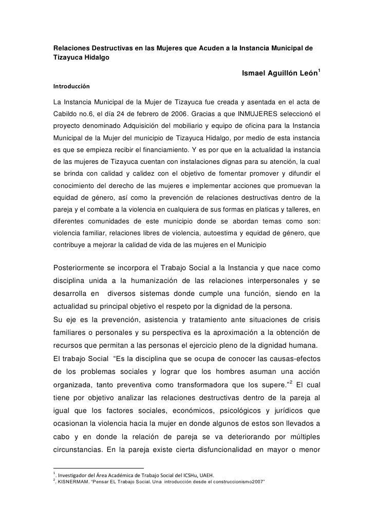 Relaciones Destructivas en las Mujeres que Acuden a la Instancia Municipal deTizayuca Hidalgo                             ...