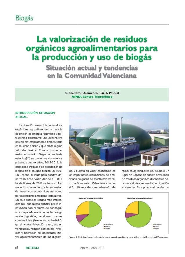 Biogás  La valorización de residuos orgánicos agroalimentarios para la producción y uso de biogás Situación actual y tende...