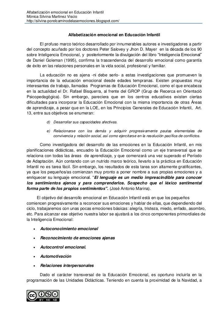 Alfabetización emocional en Educación InfantilMónica Silvina Martinez Visciohttp://silvina-porelcaminodelasemociones.blogs...