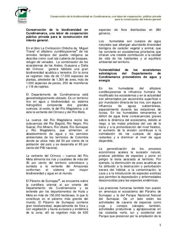 Conservación de la biodiversidad en Cundinamarca, una labor de cooperación público privada para la construcción del interé...