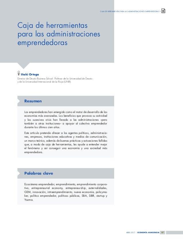 ABRIL 2017 | ECONOMÍA ARAGONESA 8787 Caja de herramientas para las administraciones emprendedoras CAJA DE HERRAMIENTAS PAR...
