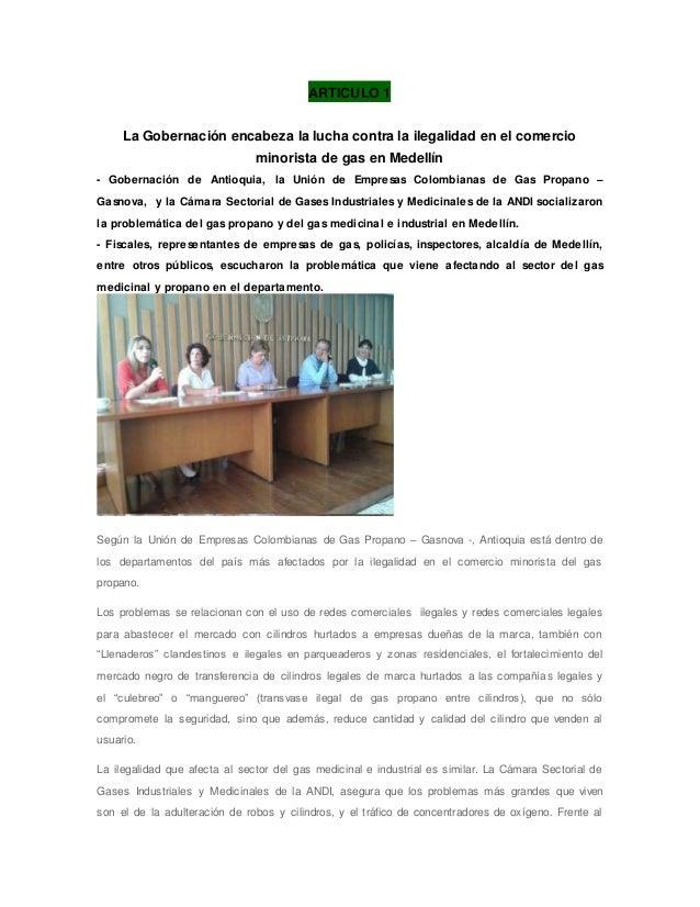ARTICULO 1 La Gobernación encabeza la lucha contra la ilegalidad en el comercio minorista de gas en Medellín - Gobernación...