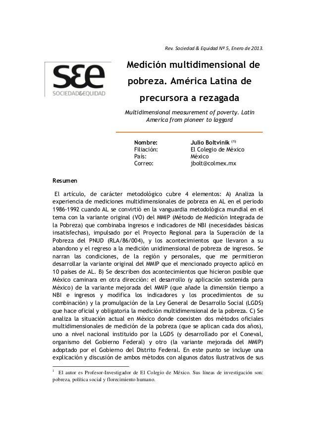 Rev. Sociedad & Equidad Nº 5, Enero de 2013. Resumen 1 El artículo, de carácter metodológico cubre 4 elementos: A) Analiza...
