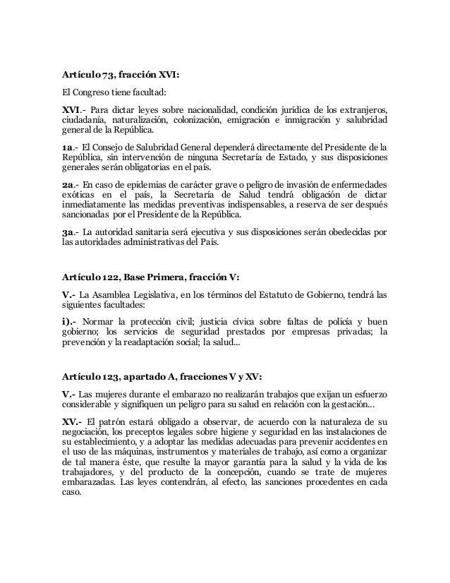 Articulos de la constitucion mexicana que hablan de la salud