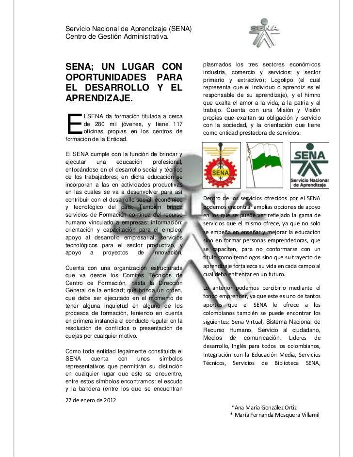 Servicio Nacional de Aprendizaje (SENA)Centro de Gestión Administrativa.                                                  ...