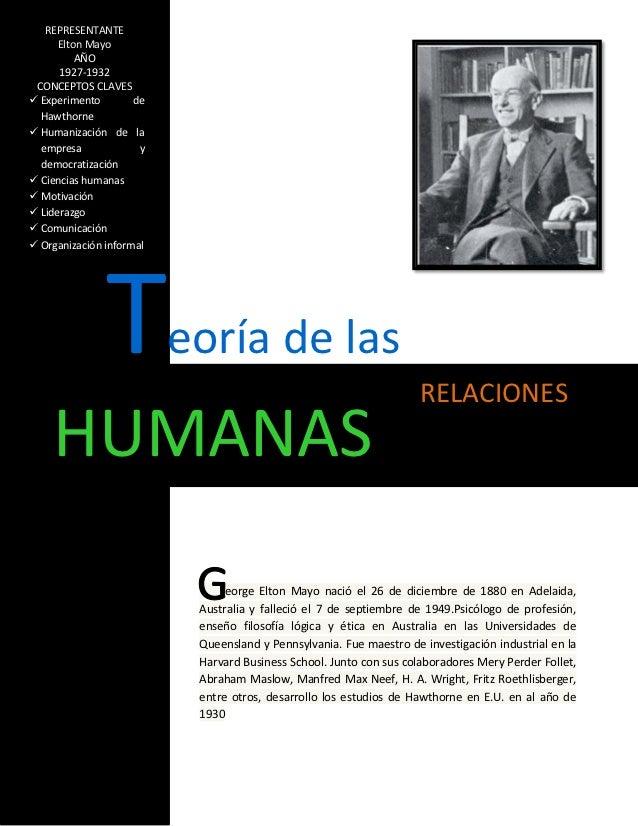 REPRESENTANTE      Elton Mayo          AÑO      1927-1932 CONCEPTOS CLAVES Experimento        de  Hawthorne Humanización...