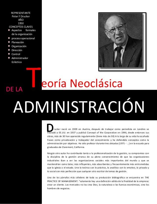 REPRESENTANTE  Peter F Drucker       AÑO       1950CONCEPTOS CLAVES Aspectos formales de la organización proceso operacion...