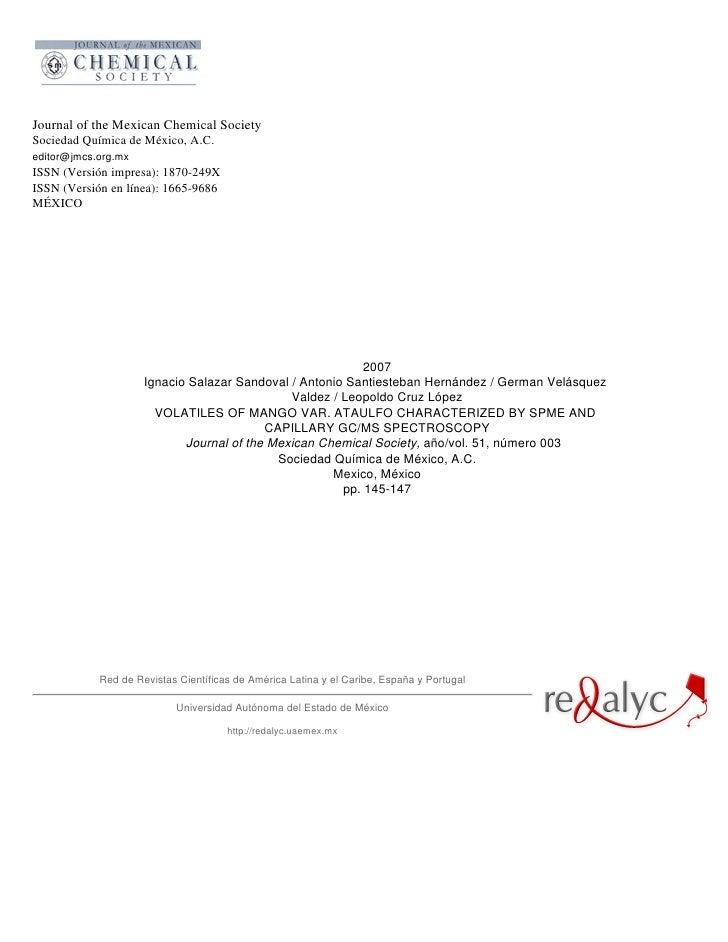 Journal of the Mexican Chemical SocietySociedad Química de México, A.C.editor@jmcs.org.mxISSN (Versión impresa): 1870-249X...