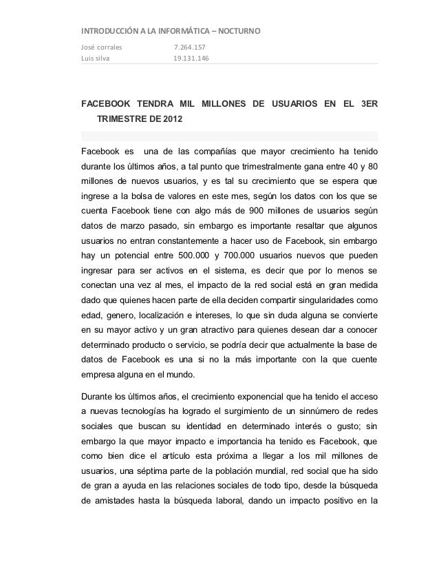 INTRODUCCIÓN A LA INFORMÁTICA – NOCTURNOJosé corrales          7.264.157Luis silva             19.131.146FACEBOOK TENDRA M...