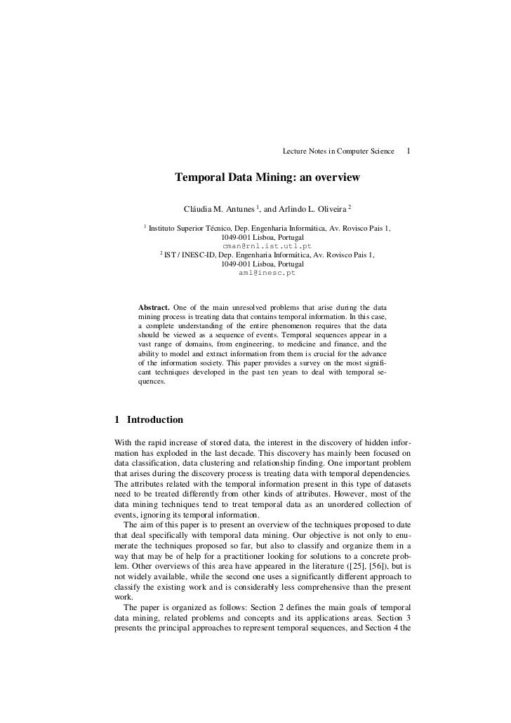 Lecture Notes in Computer Science    1                    Temporal Data Mining: an overview                       Cláudia ...