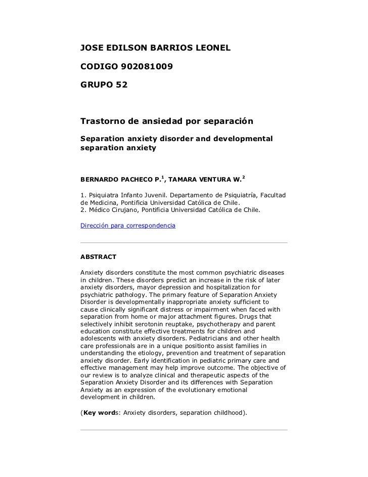 JOSE EDILSON BARRIOS LEONELCODIGO 902081009GRUPO 52Trastorno de ansiedad por separaciónSeparation anxiety disorder and dev...
