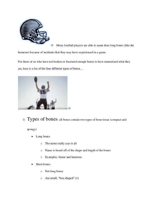 ©   Many football players are able to name their long bones (like thehumerus) because of incidents that they may have expe...