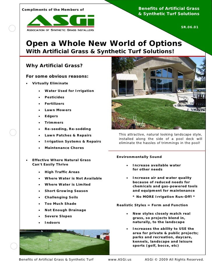 Compliments of the Members of                                  Benefits of Artificial Grass                               ...