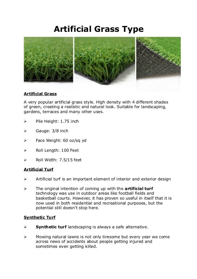 Artificial Grass Type Artificial Grass A very popular artificial grass style. High density with 4 different shades of gree...