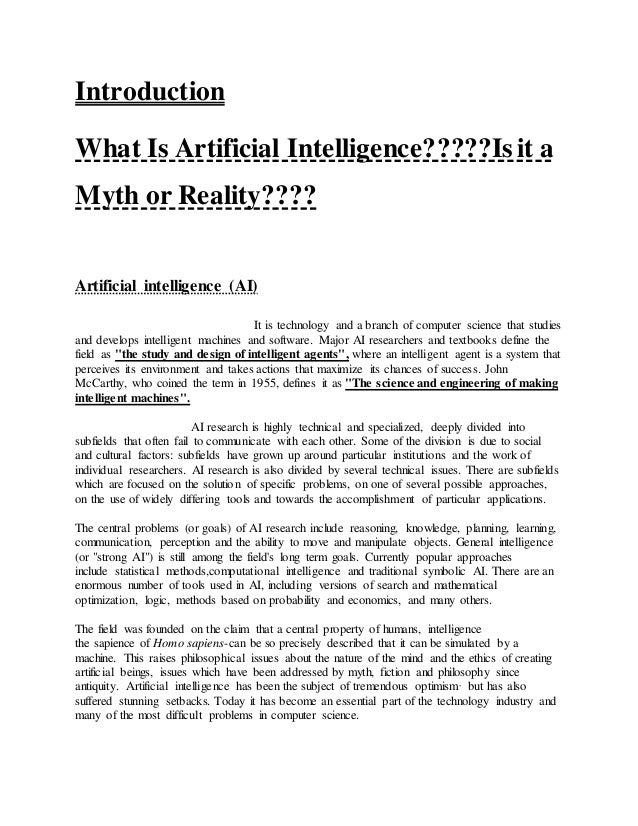Artificial intelligence Essay Sample